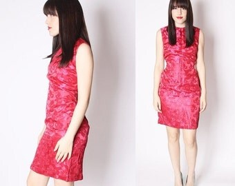 SALE 65% OFF ends 02/16 Fuchsia Pink 60s Cheongsam Asian Chinese Style Cocktail Dress / Mad Men Cocktail Dress / 60s Floral Brocade / 2241