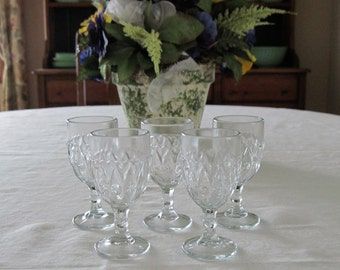 5 Antique Vintage EAPG Wines Indiana Glass Shuttle Pattern Hearts Stars & Dots Circa 1900's