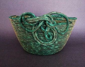 Coiled Fabric Basket, Emerald Glow