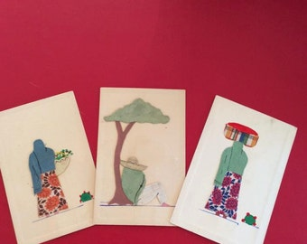 Vintage 1940s Postcards 3 In This Grouping Made Of Paper and Fabric Arts Crafts Scrap Booking Supply