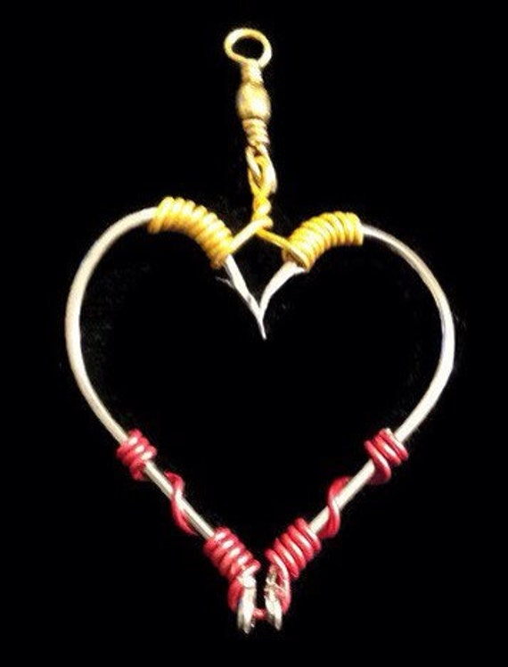 Fish hook necklace real fishing hooks heart by icusuezq for Gold fish hook necklace