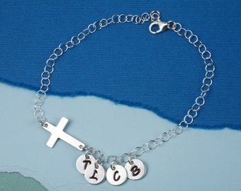 Sideway cross charm initial bracelet,Monogram bracelet,Family bracelet,custom font,Blessing,Godmother bracelet,personalized monogram