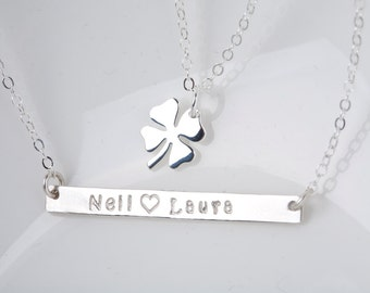 st.patrick's day Long bar clover necklace,double layer name bar,four leaf clover,sharmock necklace,hand stamped bar,lucky clover,date bar