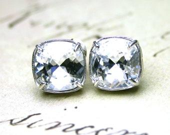 Crystal Stud Earrings in Sterling Silver - Swarovski Crystal Cushion Cut Stones Set in Sterling Silver Posts