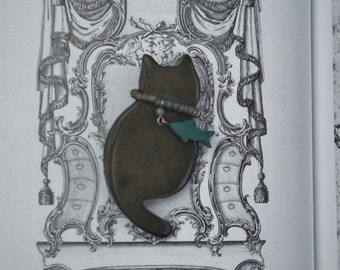 """Vintage - Retro - """"Cat who got the Fish"""" - Brooch"""
