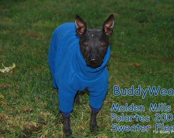Polartec® 200 Sweater Fleece Winter Body Suit for  Italian Greyhounds, American Hairless, and all small dogs.