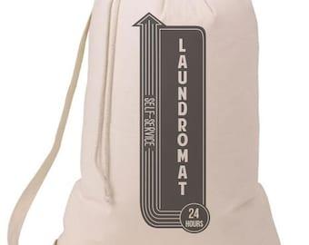 Laundromat Self Service Laundry Bag, Humorous Laundry Bag, College Hamper, College Student Gift- Graduation Gift- 52C