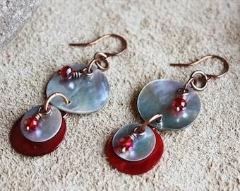 20% OFF SALE Shell Earrings, Crystal Earrings, Red Earrings, Copper Earrings, Drop Earrings, Boho Earrings, Rustic Earrings, Tribal Earrings