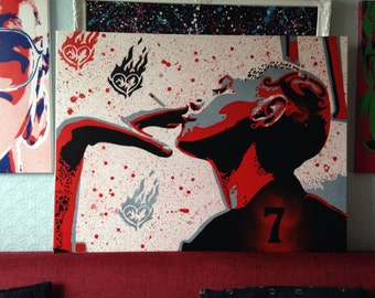 Women with tattooed head painting,smoking,seven of hearts,urban art,stencil and spray paint on canvas,red,black,skinhead,punk,wall art,house