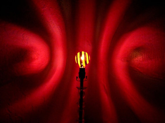 Red Black Spiral Painted Moodlight Bulb 4 Valentines
