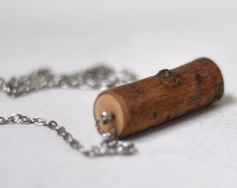 wood necklace  •  poplar wood pendant  •  wooden necklace