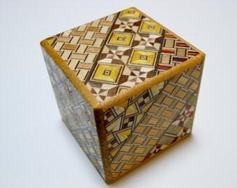 Japanese Puzzle box (Himitsu bako) 54mm (2.1inch) Kaku Cube 10steps Modern Yosegi