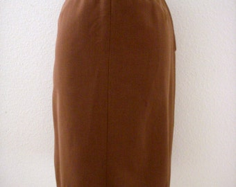 Vintage 1950s Brown Skirt with Metal Zipper - 50s Brown Suit Skirt - Size Small to Medium estimated