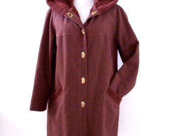 Vintage 70s Hooded Car Coat - Faux Fur Lined Brown 1970s Coat - Brown Forecaster Coat with Hood - Brown Winter Coat - Size Small