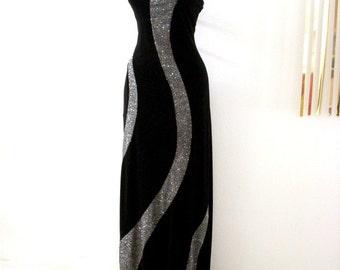 Vintage 80s Black Velvet and Silver Prom Dress - Black Glittery Halter Dress - Velvet Wiggle Evening Dress - Cocktail Party Dress - Small 7
