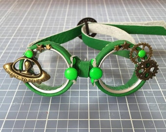 OOAK Blythe Green Steampunk Goggles by Kaleidoscope Kustoms