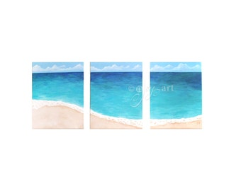 Tropical Shoreline #8, Set of 3 11x14 inch acrylic paintings of a beach for home and office decor
