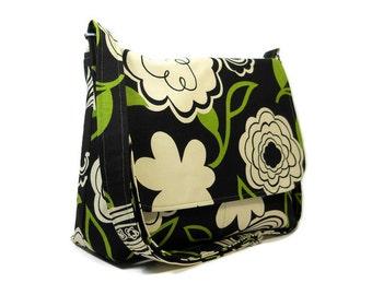 Canvas Crossbody Bag, Messenger Purse, Modern Floral Pocketbook, Green Black Floral Bag, Fabric Pocketbook, Canvas Handbag, Cross Body Bag