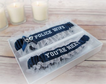 Handcrafted Embroidered Police Wedding Garters - Police Wife Garters - Blue line police garters - Something blue garters.