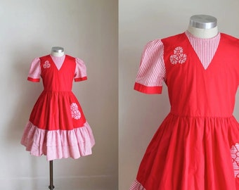 vintage girl's party dress - CANDY 80s does 50s red dress / 10yr