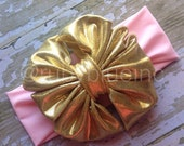 Messy Bow in Gold on Light Pink by Ruby Blue