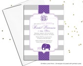 girl baby elephant shower invitation in purple and gray stripes - printable invitation - baby shower invite for baby girl - printed (787)