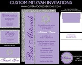 Lilac Purple Bat Mitzvah Invitation with Silver Glitter PATTERN - RSVP Reply Card - Guest - Return Addressing - Celebration Card