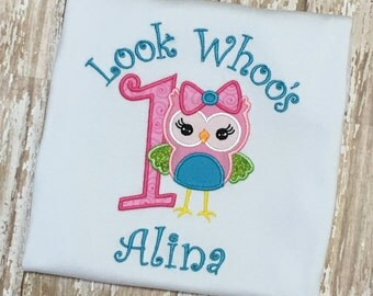 Look Whoo's One Owl Birthday Embroidery Shirt