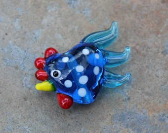 Large lampwork glass rooster bead - Deep Capri Blue (Turquoise blue) with White Spots- 1 bead - chicken- jewelry and crafts DIY