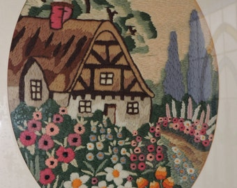 Vintage ART DECO Crewel Embroidery Thatched COTTAGE Garden Framed Picture c1931