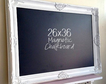 WHITE Framed Chalkboard Narrow Kitchen Chalkboard French Country Kitchen Decor MAGNETIC Chalkboard Chalk Board Blackboard Farmhouse Kitchen