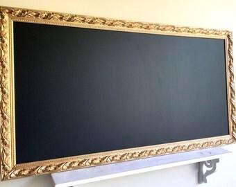 DECORATIVE CHALKBOARD Gold Wedding Decor Framed Chalk Board MAGNETIC Large Black Board Blackboard Magnet Memo Board Office Seating Cards