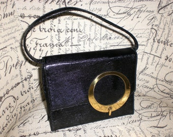 Black leather bag, Block, 60's,Mod, Petite