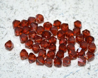48pcs Swarovski Bicone Crystal Beads Red Magma Faceted Austrian Crystal 4mm Xilion Model 5328