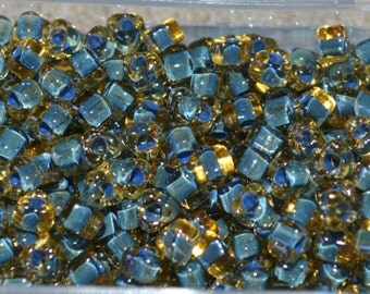 25g Triangle Seed Beads Miyuki Glass #5 Amber Yellow Color-Lined Blue 4mm #5