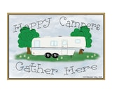 """Happy Campers Gather Here Fifth Wheel Camper Camping 3.5"""" X 2.5"""" Fridge Refrigerator Magnet"""