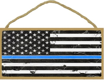 "The Thin Blue Line Police Cop Distressed American Flag Sign 5""X10"""