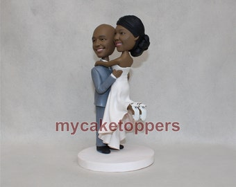 Funny wedding cake topper cake topper funny bride and groom figure figurines personalized cake topper  couple bobblehead