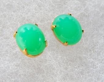 Green Earrings, Post Earrings, Small Earrings, Gift for Her