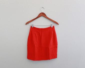 Vintage red Silk mini skirt by Randy Kemper