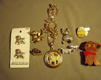 Vintage Lot Dog Jewelry Puppy Buttons Handmade Wood Pin Bulldog Dachshund Snoopy Poodle 8317