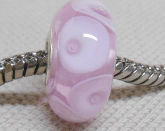 Transparent Pink with Bubble Dots Handmade Lampwork Bead Silver Cored Bead