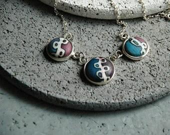 Art jewelry, Fabric jewelry, Handmade silver jewelry, Sterling silver, Batik pattern, Textile jewelry, Blue Purple