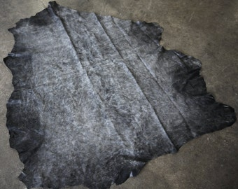 Grey and Black Distressed Buttery Soft Italian Lamb Leather Full Hide