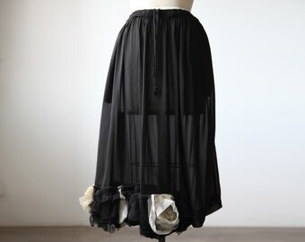 COMME DES GARCONS Sheer Black Skirt with Ruffled Flower Tulle Rose Hem Detail