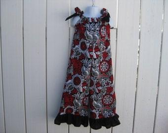 Size 3 Red Black and White Floral Long Pants Ruffled Romper  Li Li
