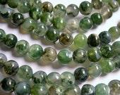 Moss agate - 8 mm round beads -1 full strand - 48 beads  - RFG185