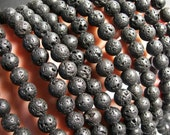 Lava volcanic gem - 8mm round - 1 full strand - 47 beads - A Quality - RFG353