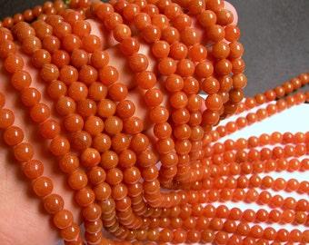 Red aventurine  - 8 mm round beads -1 full strand - 49 beads -  Orange - RFG497