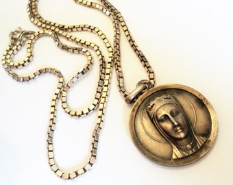 Vintage Religious Pendant on Chain... Sterling Silver... Jesus and Mary?